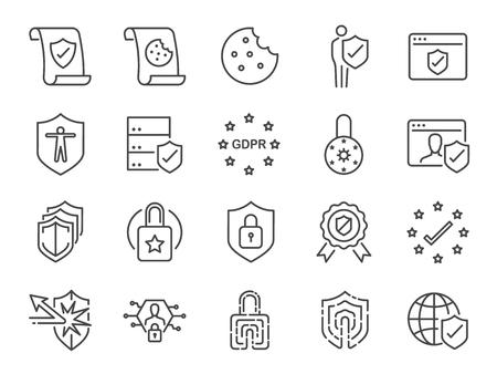 Conjunto de iconos de política de privacidad. Incluyó los íconos como información de seguridad, GDPR, protección de datos, escudo, política de cookies, datos personales conformes, candado, ilustración vectorial. Ilustración de vector