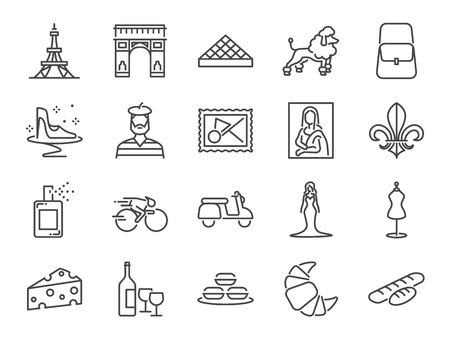 France travel icon set. Included the icons as French toast, landmarks,   baguettes, Paris fashion, Brand name, Poodle dog, attractions Vector illustration. Ilustração