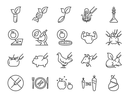 GMOs icon set. Included the icons as Genetically Modified Organisms, science, genetics, improve, biotechnology, modified, agriculture and more Illustration