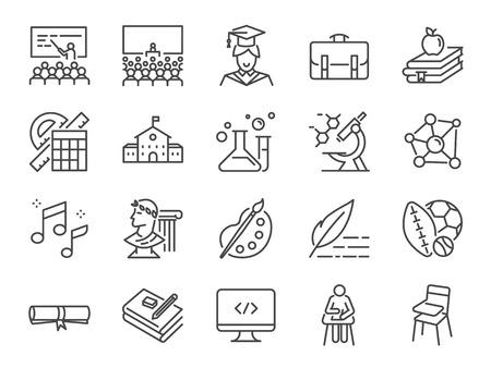 Zurück zum Schulsymbolsatz. Enthält die Symbole wie Bildung, Studium, Vorlesungen, Kurs, Universität, Buch, Lernen und mehr