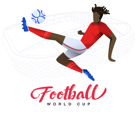 Soccer player on the stadium background Football world cup. Football player in Russia 2018. Full color vector illustration with flat style isolated and scaleable. 向量圖像