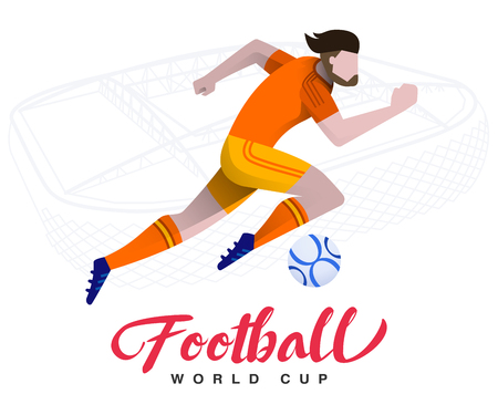 Soccer player on the stadium background Football world cup. Football player in Russia 2018. Full color vector illustration with flat style isolated and scaleable. Stock Illustratie