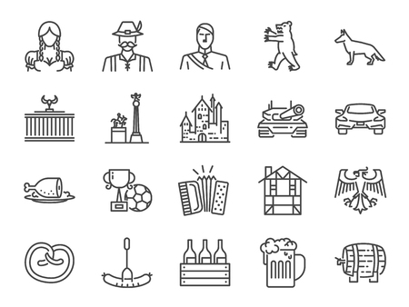 Germany icon set. Included the icons as landmarks, beer, travel, food, costume, german shepherd, castle and more