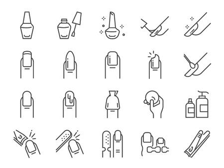 Zestaw ikon salon paznokci. Zawiera ikony takie jak palec, separator palców, płaszcz, podkładka do usuwania, glazura, farba, zdobienie paznokci i wiele innych
