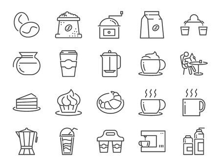 Coffee shop icon set. Included icons as cafe, coffee beans, coffee maker, machine, espresso, latte, glass pot and more.