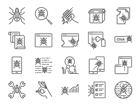 QA and Bug fix icon set. Included icons as bug report, computer virus, spyware, quarantine, quality assurance, Test Case and more.  イラスト・ベクター素材