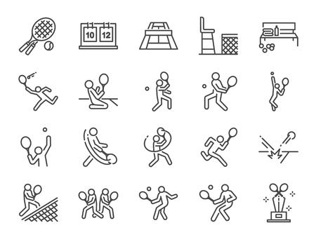 Conjunto de iconos de tenis. Incluye íconos como tenis de dobles, jugador de tenis, partido, servicio, derecha, revés y más. Ilustración de vector
