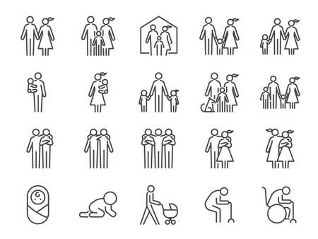 Family icon set. Included icons as people, parents, home, child, children, pet and more.