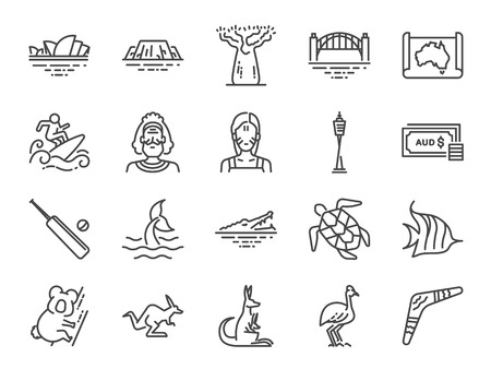 Australia icon set. Included icons as Australian aboriginal , indigenous  , kangaroo, koala bear, surfing, Sydney and more.
