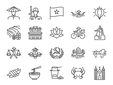 Vietnam icon set. Included icons as Vietnamese, street food , Pho noodle, communist, Ho chi minh, landmarks and more.