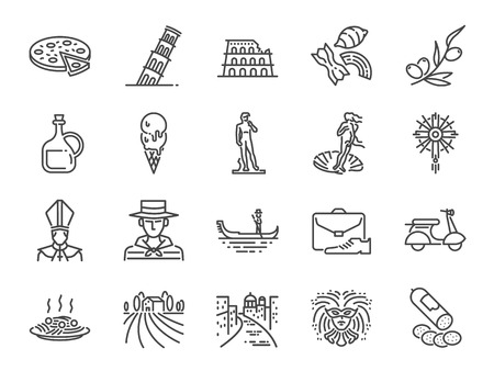 Italy icon set. Included icons as Venice, Gondola, Pizza, Olive oil, Salami, Italian food and more.