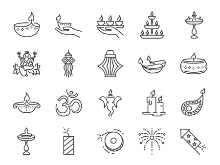 Diwali icon set. Included icons as Deepavali celebrate, light festival, candle, lamp, Hindu celebration, hinduism and more.