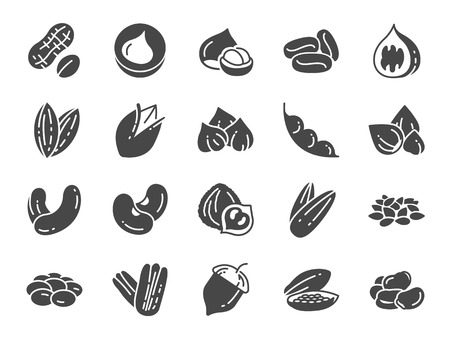 Nuts, seeds and beans icon set. Included icons as walnut, sesame, green beans, coffee, almond, pecan and more.  イラスト・ベクター素材