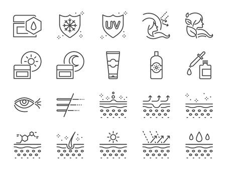 Hautpflege-Symbolsatz. Enthaltene Symbole wie Kollagen, medizinische Kosmetik, Sonnenschutzmittel, Gesichtscreme, gesunde Haut, Falten und mehr. Vektorgrafik