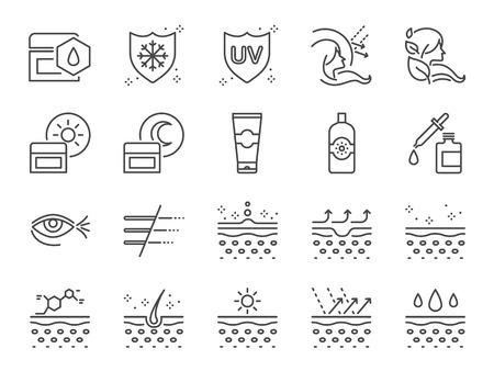 Skin care icon set. Included icons as collagen, medical cosmetic, sunscreen, facial cream, healthy skin, wrinkle and more. Stock Illustratie