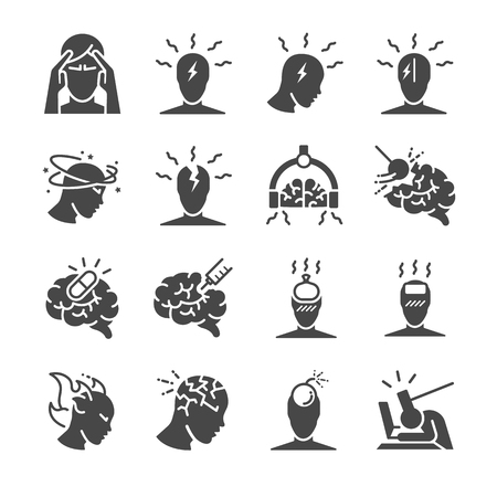 Headache icon set. Included the icons as Tension headaches, Cluster headaches, Migraine, brain symptom and more