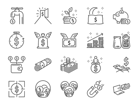 Passive income line icon set. Included the icons as Financial freedom, expenses, fee, investing and more Stock Illustratie