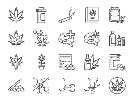 Cannabidiol icon set. Included icons as CBD, Cannabis, treatment, weed, tobacco and more. Stock fotó - 107731865