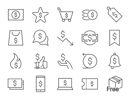 Discount icon set. Included icons as sale, promotion, badge, coupon, cash back and more. Stock Illustratie