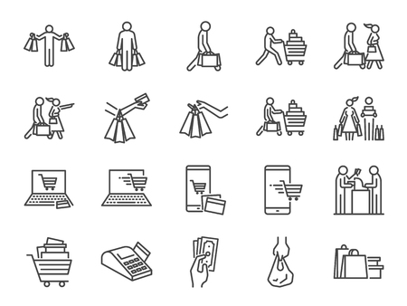 Shopping icon set. Included icons as buy, shopaholic, handful bags, cart, shop and more. Stock Illustratie