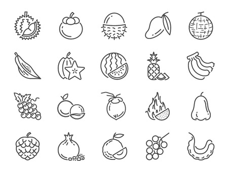 Tropical fruit icon set. Included icons as durian, mango, banana, longan, pineapple and more. Illustration