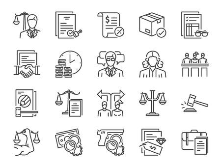 Set di icone di servizi legali. Include icone come legge, avvocato, giudice, tribunale, patrocinio e altro ancora.
