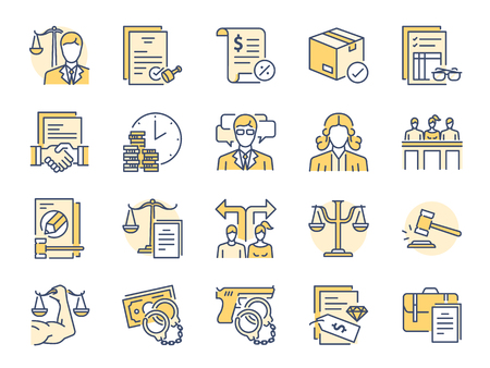 Legal services filled color line icon set. Included icons as law, lawyer, judge, court, advocacy and more. Stock Illustratie