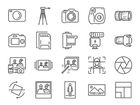 Photo and camera line icon set. Included icons as image, picture, gallery, album and more.