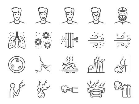 Air pollution line icon set. Included icons as smoke, smell, pollution, factory, dust and more.