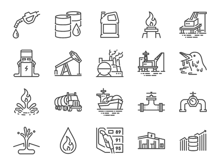 Oil and Petroleum line icon set. Included icons as power, fuel, energy, gas station, crude oil and more. Stock Illustratie