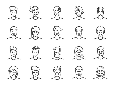 Man avatar line icon set. Included icons as Male, Boy, Profile, Personal and more.