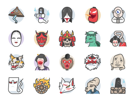Japanese ghost icon set. Included icons as spirit, monster, demon, folklore and more. Stock Illustratie