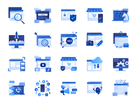 Web and marketing icon set. Included icons as SEO, statistics, content, online and more.