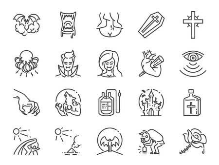Vampire line icon set. Included icons as monster, blood, fang, undead and more. Stock Illustratie