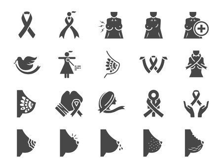 Breast cancer sign icon set. Included icons as ribbon, awareness, symptoms, and more.
