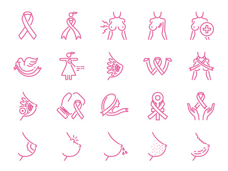 Breast cancer sign icon set. Included icons as ribbon, awareness, symptoms, nipple and more.