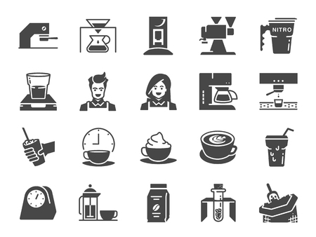 Coffee shop icon set. Included the icons as cafe, espresso, coffee maker, roaster machine, latte art, barista and more.