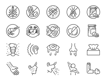 Allergies icon set. Included the icons as allergic diseases, dust allergy, food allergy, rhinitis, sinus Infection, asthma and more. Illustration