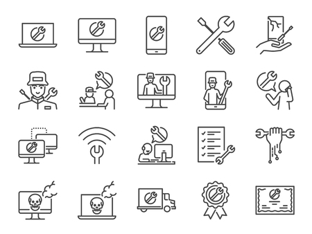 Conjunto de iconos de soporte de TI. Incluidos los íconos como soporte técnico, técnico, computadora rota, móvil, mesa de ayuda técnica, servicios en el sitio y más.
