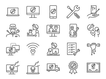 Jeu d'icônes de support informatique. Inclut les icônes comme support technique, technicien, ordinateur en panne, mobile, service d'assistance technique, services sur site et plus encore.