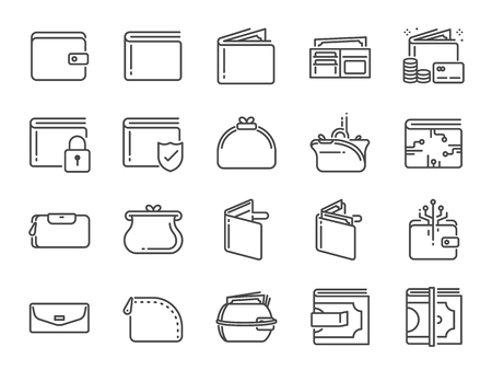 Wallet icon set. Included the icons as purse, money, bag, finance, e-wallet and more. Stock Illustratie
