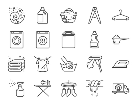 Laundry icon set. Included the icons as detergent, washing machine, fresh, clean, iron and more. Stock Illustratie