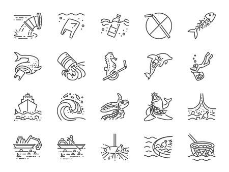 Insieme dell'icona di inquinamento marino. Incluse le icone come spazzatura oceanica, rifiuti, spazzatura, plastica, pulizia dell'oceano e altro ancora.
