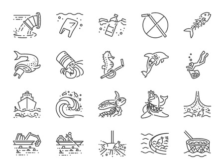 Marine pollution icon set. Included the icons as ocean trash, waste, junk, plastic, ocean cleaning and more. 版權商用圖片 - 112416647