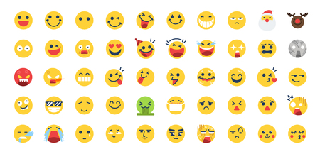 50 Emoji icon set. Included the icons as happy, emotion, face, feeling, emoticon and more. Stock Illustratie