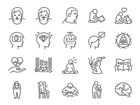 Autistic awareness icon set. Included the icons as autism, Savant syndrome , ASD, abnormal, disorder and more.