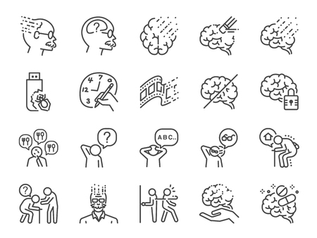 Alzheimers & Brain Awareness line icon set. Included the icons as Alzheimer, brain disease, Savant syndrome, mental disabilities, Down syndrome and more.