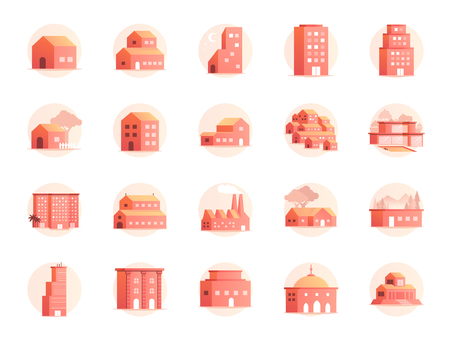 Property colors icon set. Included the icons as home, house, hotel, resort, building and more. Stock Illustratie