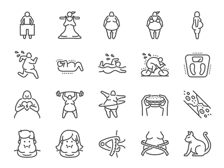 Overweight line icon set. Included the icons as fat, cholesterol, lose weight, exercise, scales and more. Illustration