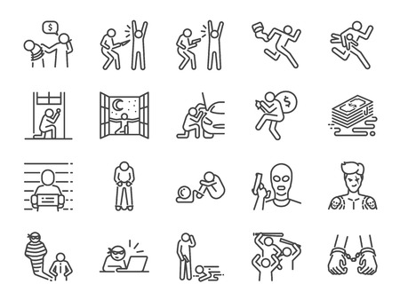 Jeu d'icônes de ligne criminelle. Inclus les icônes comme hors-la-loi, crime, homicide, arrestation, prisonnier et plus encore.